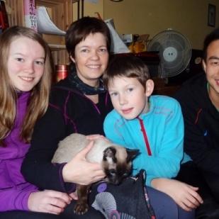 Sam, og katta som vi ble så glad i.