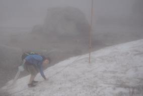 Mount Tateyama, snøen lå enda noen steder. Utsikten var ikke mye å skryte av.